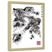 Feeby Image encadrée Tableau décoration cadre mural nature, Attaque des pirates de l'esapce 40x60 cm - Décoration murale