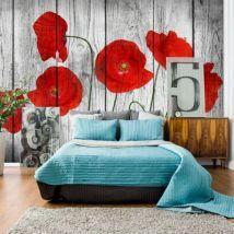 Papier peint - Tale of Red Poppies .Taille : 250x175 - Décoration des murs