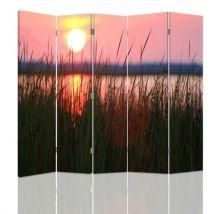 Feeby Paravent Impression toile Déco 5 parties une face, Soleil couchant Lac 180x150 cm - Objet à poser
