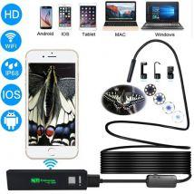 (#60) 2.0MP HD Camera WiFi Endoscope Snake Tube Inspection Camera with 8 LED, Waterproof IP68, Lens Diameter: 8mm, Length: 10m, Hard Line - Webcam