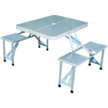 Table de camping pique-nique pliante aluminium 4 places en valise - Mobilier de camping