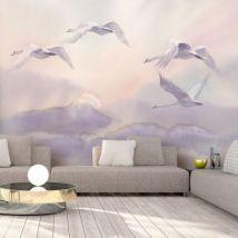 Papier peint - Flying Swans - Décoration, image, art | Animaux | - Décoration des murs
