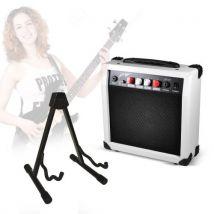 Pack guitariste en herbe - Amplificateur blanc guitare portatif + support universel - Accessoire pour guitare