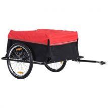 Remorque de transport velo cargo avec reflecteurs et housse amovible rouge/noir - Equipements et accessoires de cyclisme