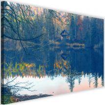 Cadre mural déco Tableau imprimé moderne Canevas Maison Lac 4 60x40 - Décoration murale