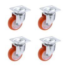 Lot roulettes pivotantes polyuréthane injecté rouge 40 mm - 120 Kg - Manutention transports