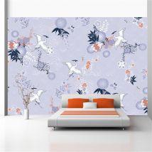 Papier peint | Flight of herons | 200x140 | Orient | - Décoration des murs