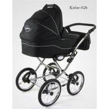 Poussette/Landau avec siège-auto 3en1 et avec accessoires & cadre en chrome et roues 14 gonflables bébé enfant Soprano - Les poussettes