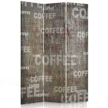 Feeby Diviseur de pièce 3 pans 2 faces Paravent d'intérieur en toile imprimée, Coffee 110x150 cm - Objet à poser