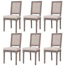 vidaXL Chaise de salle à manger 6 pcs Lin Rotin 47x58x98cm Blanc crème