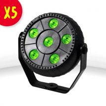 Lot de 5 Jeux de lumière PAR 6x1W LED RVB + Etrier fixation - mode auto/sound - Jeux de lumière