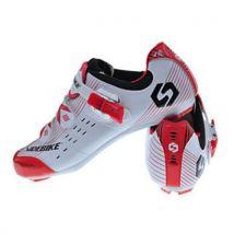 Chaussures de vélo Rouge et Blanc avec paire de pédales et cales - Unisexe 44 - Chaussures et chaussons de sport