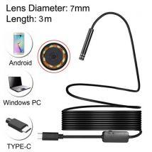 (#60) USB-C / Type-C Endoscope Waterproof IP67 Snake Tube Inspection Camera with 8 LED & USB Adapter, Length: 3m, Lens Diameter: 7mm - Webcam