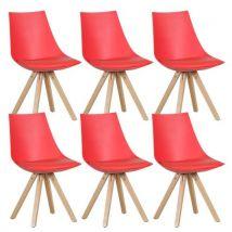 Hopen - Lot de 6 Chaises Rouges - Chaise