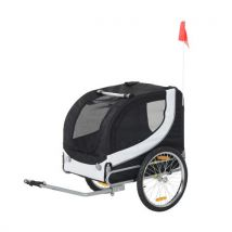 Remorque velo pour chien animaux avec drapeau et 8 reflecteurs blanc et noir - Equipements et accessoires de cyclisme