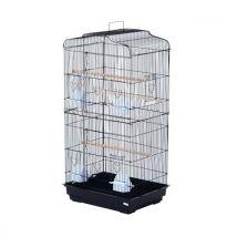 Cage à oiseaux avec mangeoires perchoirs 48 x 36 x 91 cm noir - Cages et Accessoires oiseaux