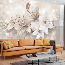 Papier peint - Diamond Lilies - Décoration, image, art | Fleurs | Lilies | - Décoration des murs