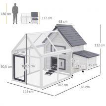 Poulailler clapier modèle villa multi-équipée : rampe, nichoirs, perchoirs, plateau excrément, 2 portes bois massif pin gris blanc - Volailles