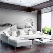 Papier peint - White gallop - Décoration, image, art | Animaux | - Décoration des murs