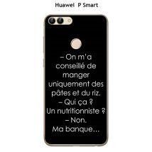 """Onozo - Coque Huawei P Smart design Citation """"On m'a conseillé """" Texte blanc fond noir - Etui pour téléphone mobile"""