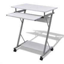 Vidaxl Table De Bureau Blanche Pour Ordinateur