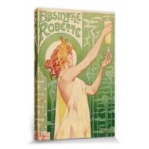 Publicité Historique Poster Reproduction Sur Toile, Tendue Sur Chassis - Fée Verte, Absinthe Robette, Henri Privat Livemont, 1896 (30x20 cm) - Décorat