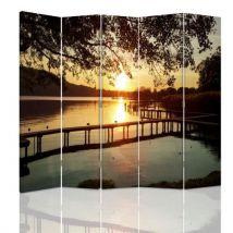 Feeby Paravent d'intérieur 5 parties Ecran décoratif deux faces imprimée, Vue Soleil couchant Lac 180x180 cm - Objet à poser