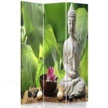 Feeby Paravent pivotant Diviseur Séparateur de pièce déco 3 parties, Bouddha blanc Feuillage 110x180 cm - Objet à poser