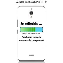 Coque TPU gel souple Alcatel OneTouch PIXI 4-6 pouce design Message Je réfléchis, Texte noir - Etui pour téléphone mobile