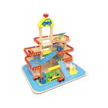 Garage parking station d'essence et lave-auto en bois 3 niveaux jeu pour enfant | Multicolore - Autre circuit / véhicule