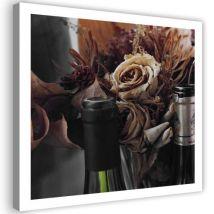 Tableau Toile Grand format Image murale moderne Canevas Nature morte Bouteilles Fleurs séchées 90x90 - Décoration murale