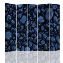 Feeby Diviseur de pièce intérieur, 5 pans double face, Cloison amovible, Galets noirs 180x150 cm - Objet à poser