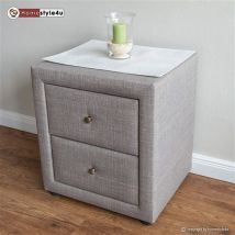 Homestyle4u Table de nuit Chambre à coucher de chevet Table d'appoint en tissu, gris, Single - Tables de chevet