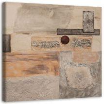 Tableau décoratif Impression sur toile Image Canevas Abstraction grise beige 30x30 - Décoration murale