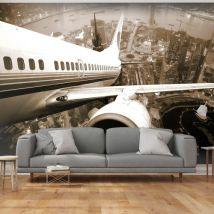 Papier peint - Avion décollant de l'aéroport - Décoration, image, art   Ville et Architecture   - Décoration des murs