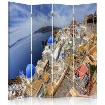 Feeby Paravent imprimé 4 pans rotatif Cloison de séparation déco, Santorini 145x150 cm - Objet à poser