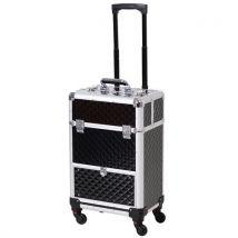 Valise trolley maquillage mallette cosmétique vanity poignée télescopique réglable 34L x 25l x 62H cm alu. noir - Valises
