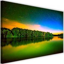 Tableau imprimé sur toile moderne Image murale Canevas Vue Lac Ciel étoilé 3 60x40 - Décoration murale
