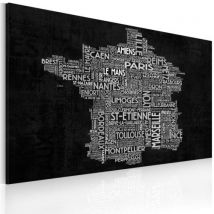 Tableau - Text map of France on the black background .Taille : 60x40 - Décoration murale
