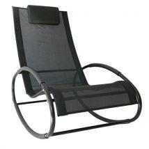 Fauteuil chaise longue à bascule design contemporain dim. 105L x 62l x 88H cm métal époxy textilène noir - Fauteuil