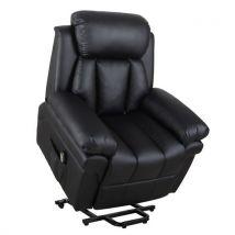 Fauteuil de relaxation électrique fauteuil releveur inclinable avec repose-pied ajustable simili cuir noir - Fauteuil
