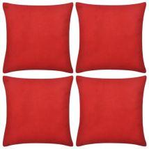 vidaXL Housse de coussin en coton 4 pcs 40 x 40 cm Rouge