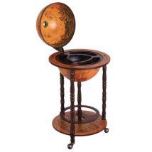 Bar globe terrestre Vintage déco. cartographie Vieux Monde mappemonde sur roulettes O 45 x 87H cm range-bouteilles et verres globe ABS chassis bois -