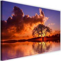 Tableau Image sur toile Cadre décoratif Canevas Coucher de soleil Arbre Vue 4 120x80 - Décoration murale