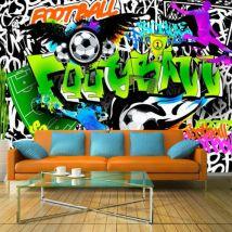 Papier peint - Football Graffiti .Taille : 150x105 - Décoration des murs