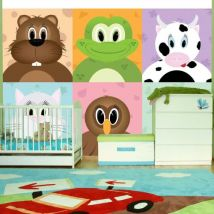 Papier peint - Cheerful animals - Décoration, image, art   Pour enfants   - Décoration des murs