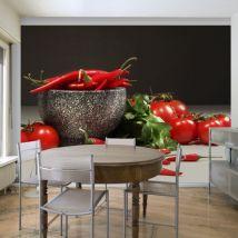 Papier peint | Tomates et piments rouges | 200x154 | Motifs de cuisine - Décoration des murs