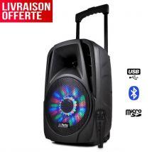"""Enceinte sur batterie 8"""" à LEDs RVB 300W - USB/BT/FM + Micro filaire - Enceinte bibliothèque"""