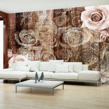 Papier peint - Old Wood & Roses .Taille : 300x210 - Décoration des murs