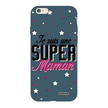 Coque pour iPhone 6/6S Silicone Liquide Douce bleu nuit Super Maman Ecriture Tendance et Design [Evetane ] - Etui pour téléphone mobile